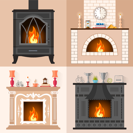 fireplaces: set of fireplaces in flat style. Collection of icons of different fireplaces with flame. Template for your design.