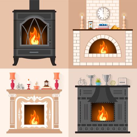 chimeneas un conjunto de chimeneas en estilo plano coleccin de iconos de diferentes chimeneas