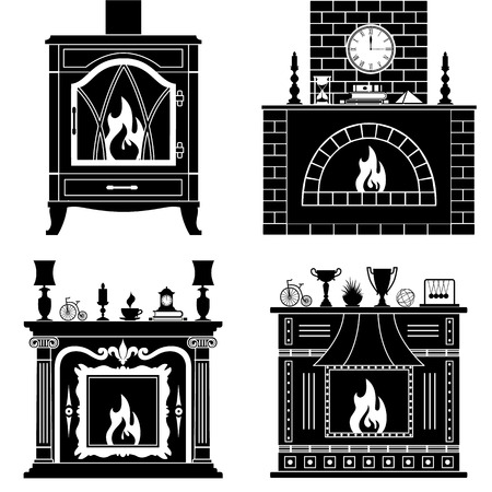 fireplaces: Fireplaces silhouettes isolated on white background. Set stencil fireplaces. Illustration