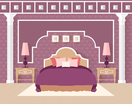 bedroom furniture: Classical bedroom with furniture. Vector illustration.