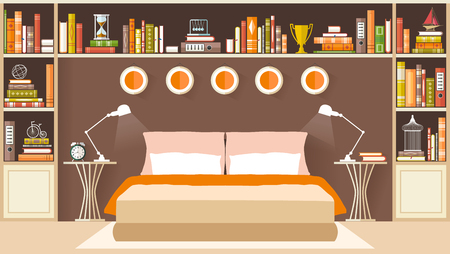 bedroom furniture: Interior design bedroom with shelves, books and furniture. Vector illustration.