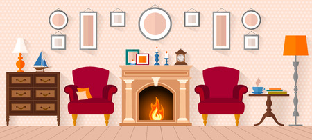 living room in a flat style with fireplace