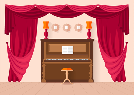 furnishings: Design music room with a piano and curtain. Vector illustration. Room for music lessons. Concert hall in a flat style.