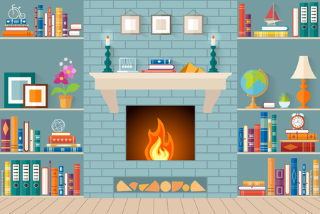 fireplace living room: living room with bookshelves, fireplace. Flat style vector illustration. Interior design.
