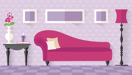 divan: Interior with pink couch in flat style. living room, lounge. Vector illustration. Boudoir for women in purple tones with ottoman. Interior Design. Illustration