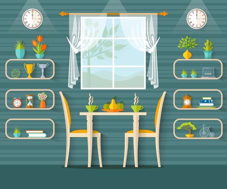 El diseño de café, bistro, restaurante o comedor en el estilo plano. Ilustración de vector