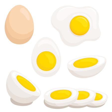 Set of fried, boiled, half, sliced eggs