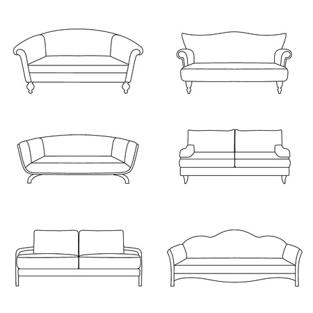 divan: Vector outline sofa icons.  Vector illustration.