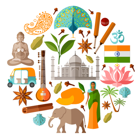 Traditional National Symbols Of India Royalty Free Cliparts