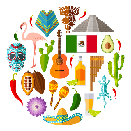 Set of Mexican icons in the flat style. Vector symbols and design elements.
