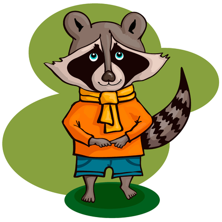 Vector illustration of cute cartoon raccoon. Smile pet.
