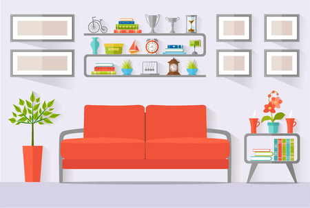 guest house: Room with furniture. Vector illustration. Interior design in a flat style. The concept of a dwelling front view.