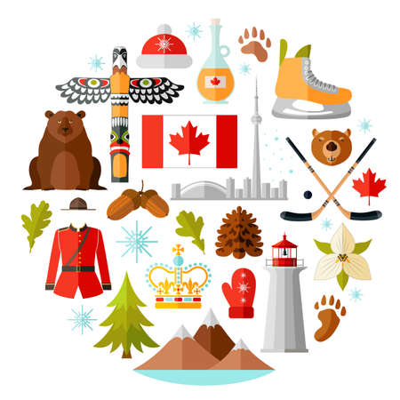 Canada vector symbols set. Collection of national canadian icons. Selection of design elements in a flat style