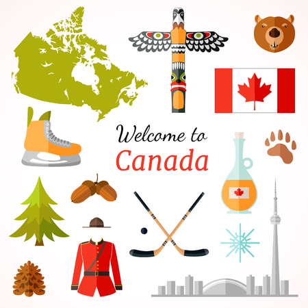 Travel banner with famous Canadian symbols, culture element, icons for journey design . Vector illustration in flat style with inscription. Stock Vector - 81666115