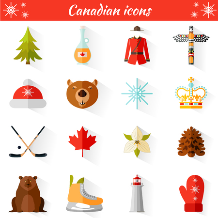 trillium: Set of vector travel Canadian web icons. Collection of famous symbols and design elements. Illustration
