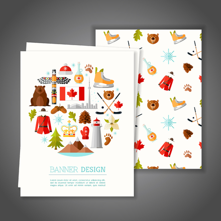 postcard: Cards with national symbols of Canada. Greeting or Invitation vector card on canadian theme. Branding Design. Banner.