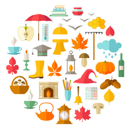 marca libros: Vector symbols of autumn. Set of icons. Elements of design for seasonal themes.
