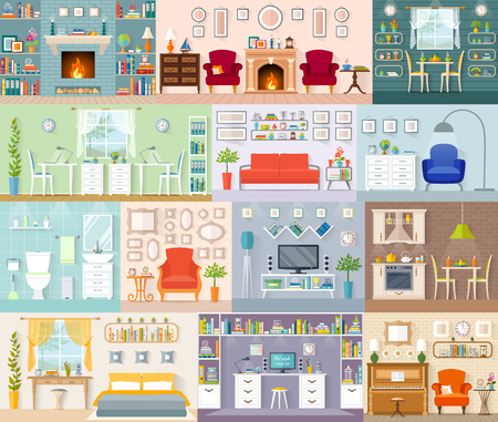 A set of different interiors. Vector illustration in a flat style. Residential premises for various purposes. Illustration