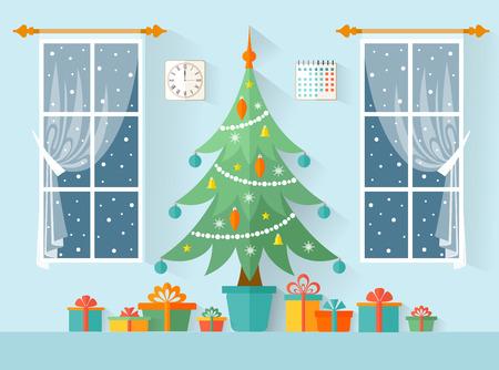 Interni natalizi festosi. Illustrazione vettoriale in uno stile piatto. Albero di Natale con scatole e regali. Carta di Capodanno
