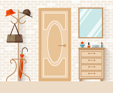 Interior design of the hallway in flat style. Vector illustration. Decoration of the entrance area. Anteroom.