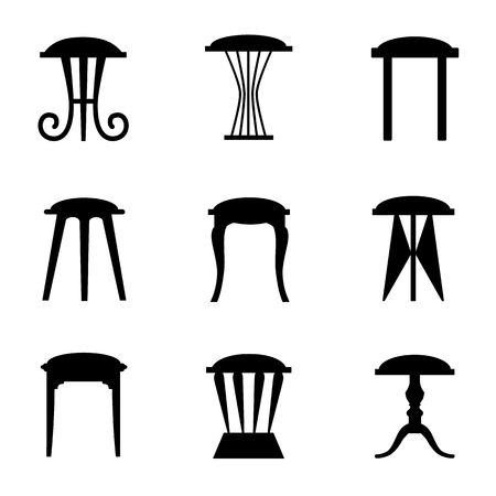 Silhouettes of stools isolated on white background. Vector outlines of chairs. Illustration. Illustration