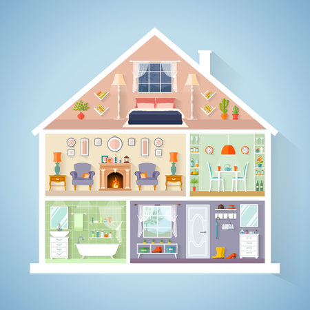 Vector house model in a cut. Rooms with furniture. Detailed interior in flat style. Stok Fotoğraf - 89811046