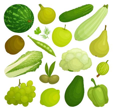 A set of fruits and vegetables of green color. Green food. Vector illustration. Illustration