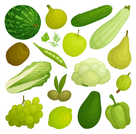 A set of fruits and vegetables of green color. Green food. Vector illustration. Vectores
