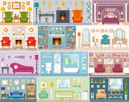 Set of interiors in flat style. Various vector rooms with furniture. Interior design. Side view.