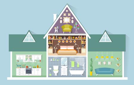 Vector huis in miniatuur. Zijaanzicht. De indeling van het appartementencomplex. Verschillende kamers met meubilair. Interieur ontwerp. Stock Illustratie