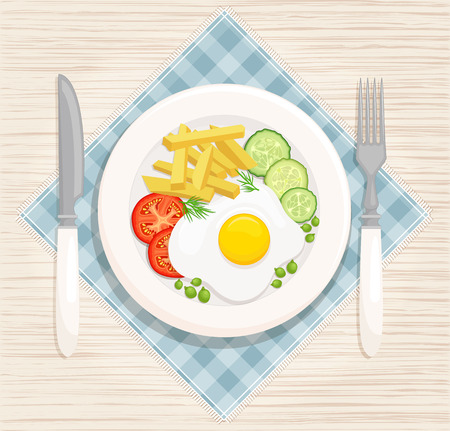 A hearty breakfast of fried eggs and fried potatoes and fresh vegetables. Vector illustration. Eating on a plate is a top view. Served breakfast.