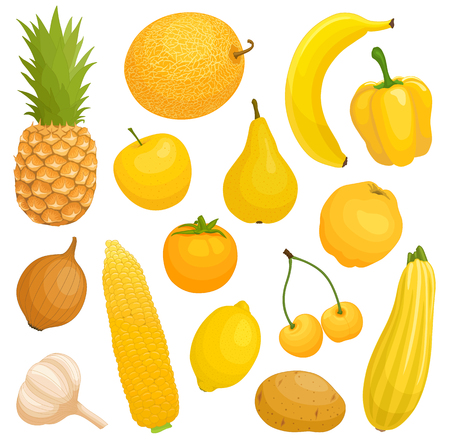 Vector fruits and vegetables of yellow color.