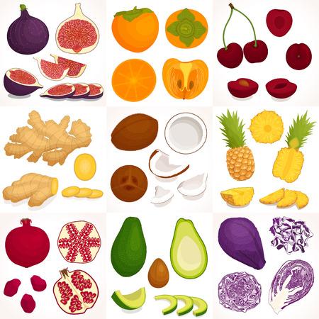 Vegetable and fruits set. Vector illustration. Illustration