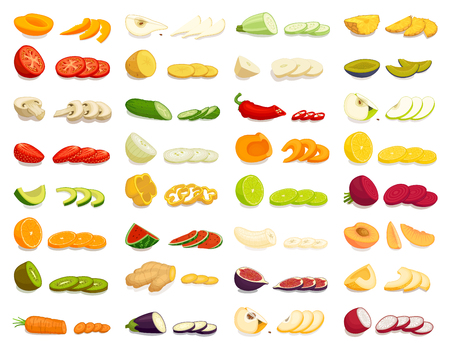 Sliced various fruits and vegetables. Vector illustration. Cooking. Cutting