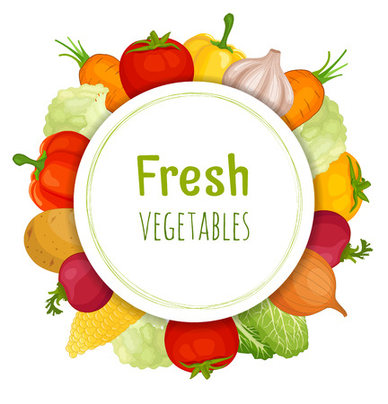 Vector frame of vegetable. Card design with various vegetables.