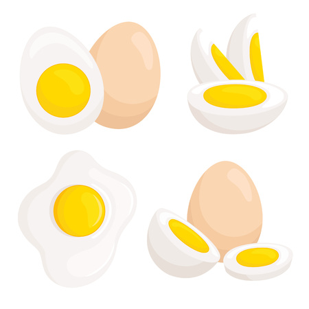Vector eggs isolated on white background. Set of differently cooked eggs.
