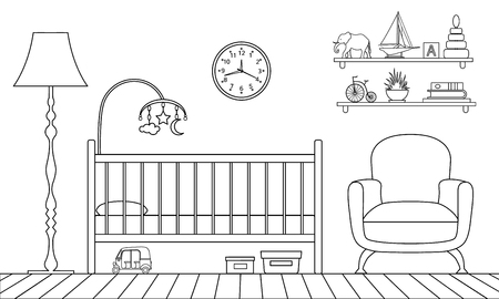 Outline interior of the childrens room. Vector illustration. Linear style. Stock Illustratie