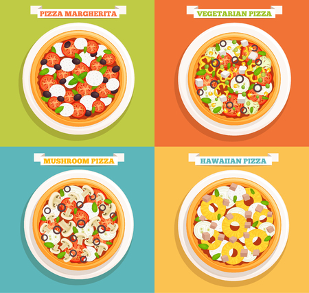 Set of icons of pizzas.