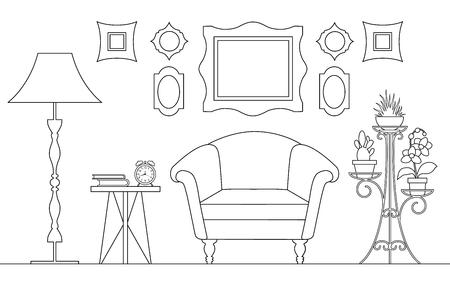 Interno lineare vettoriale. La camera è in stile contorno con mobili e decorazioni. Uno schizzo. Piano della stanza. Vista laterale.