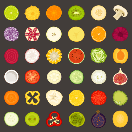 Vector icons of sliced fruits vegetables and berries. Food in a cut.