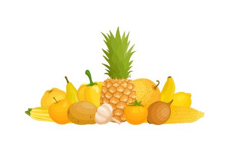Yellow fruits vector illustration.