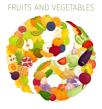 A symbol of dao from food. Vector. Yin and yang from vegetables and fruits. Concept of healthy nutrition.