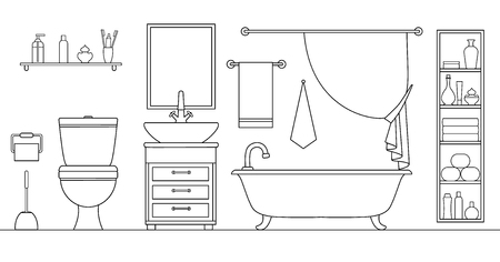 Linear vector bathroom. Plan of the restroom with furniture arrangement. Vector. Drawing. Illustration in an outline style. 일러스트