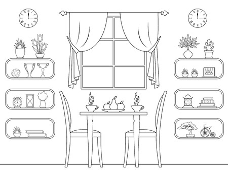 Vector linear interior cafe. Outline dining room. Design of a room with furniture and details.