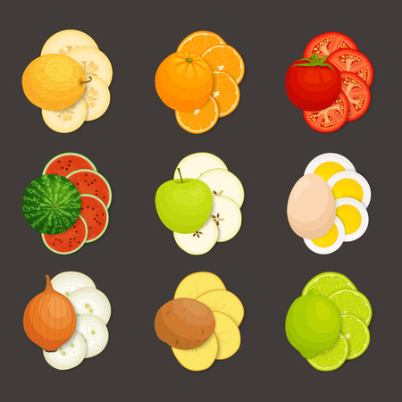Set of food on a dark background. Vector. Whole and sliced food laid out.