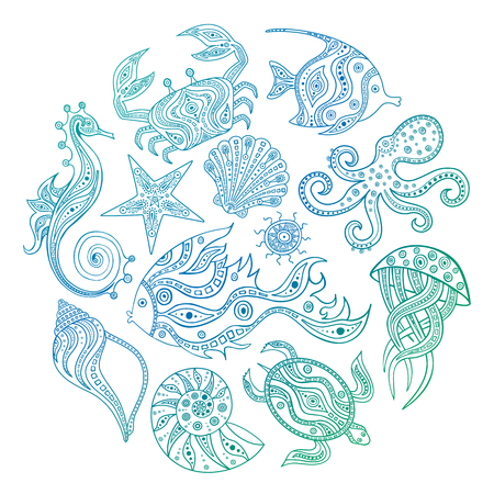A set of sketches of marine inhabitants. Vector. Sea life doodle. Hand-drawn illustration. Set of elements for coloring page. Ilustracja