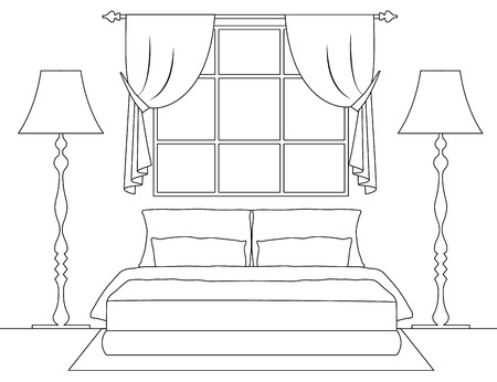 Linear scheme of the interior. Vector bedroom with furniture. Plan of the room. Frontal view.