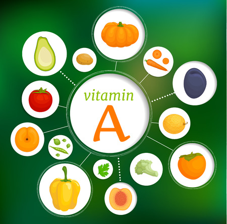 The content of vitamin e in vegetables and fruits. Foods high in retinol and carotene. Vector collage of healthy eating.