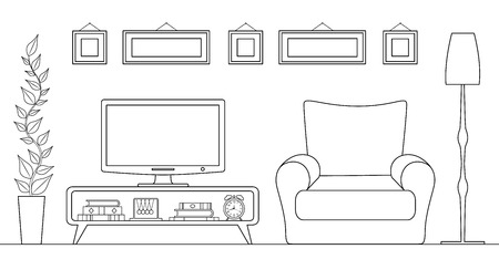 Linear interior design and decoration of the TV zone. Plan for arranging furniture.