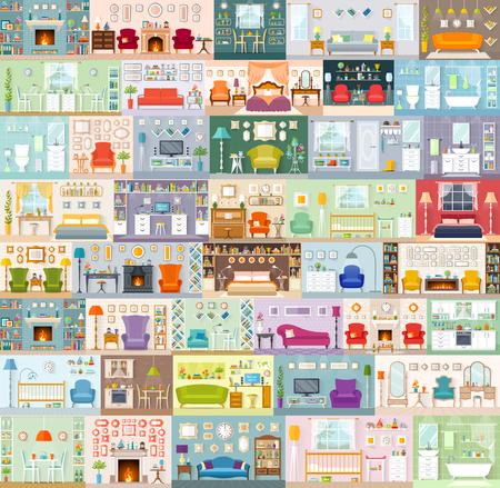 A big set of vector interiors. Variants of design of different rooms. Decor and furniture arrangement.